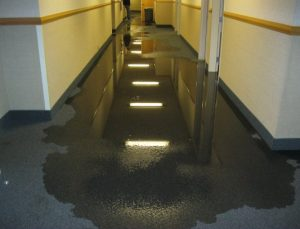 water damage in hallway
