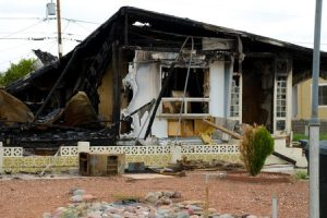 A house in need of fire damage restoration