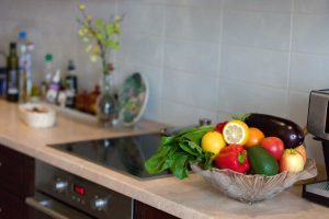 fruit bowl in newly remodeled kitchen
